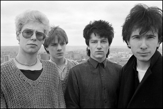 U2 on the roof of the Cork Country Club Hotel in Cork, Ireland on 10 February 1980, © David Corio