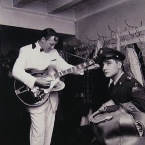 """Rupert Ganzer elvis meets bill haley  A picture of Elvis visiting Bill Haley at a concert in Frankfurt / Germany. The picture is part of the exhibition """"Friedberg - The Army Home of Elvis Presley"""" at Ray Barracks in Friedberg / Germany."""