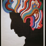 "Dylan ""Dylan"" Bob Dylan. By Milton Glaser, 1966. Color photolithographic poster with halftone. 83.8 x 55.8 cm (33 x 21 15/16 in.): Milton Glaser, one of the founders of New York's Push Pin Studios, created an icon of 1960s counterculture in his now-classic Dylan poster. It was a new form of poster, according to the artist, created as a bonus insert for the Bob Dylan's Greatest Hits album of 1967. Dylan, who wrote such songs as ""Blowin' in the Wind"" and ""Mr. Tambourine Man,"" was the folk-rock poet of the 1960s, and Glaser used his famous name as a typographically innovative design feature on the poster.  by Cliff"