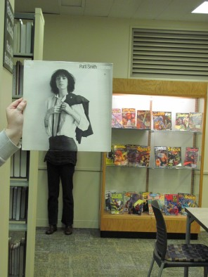 Horses To keep her street cred, Patti Smith contains her enthusiasm for the regency romance novel collection in Browne Popular Culture Library... only the librarians know what she looks at, and they won't tell.     In this photo: Patti Smith, Susannah Cleveland and Nancy Down.  Photo by Liz Tousey.